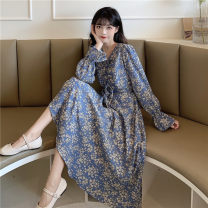Dress Spring 2021 Picture color S,M,L Mid length dress singleton  Long sleeves Sweet V-neck High waist Broken flowers Socket Big swing pagoda sleeve 18-24 years old Type A printing 30% and below other college