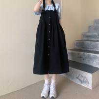 Dress Summer 2021 Blue shirt single, white shirt single, black strap skirt, apricot strap skirt Average size Mid length dress singleton  Sleeveless commute One word collar High waist other Single breasted Big swing straps 18-24 years old Type A Retro 30% and below other