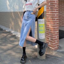 skirt Summer 2021 S,L,XL,M Blue, black Mid length dress commute High waist Denim skirt Solid color Type A 18-24 years old 30% and below other