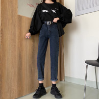 Jeans Spring 2021 Black, blue grey, denim blue S,M,L Ninth pants High waist Straight pants routine 18-24 years old washing other Dark color 30% and below