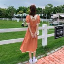 Dress Summer 2021 Black, orange, blue Average size Mid length dress singleton  Short sleeve Sweet square neck High waist Solid color Socket A-line skirt puff sleeve 18-24 years old Type A Bow tie, hollow out, open back 30% and below other college