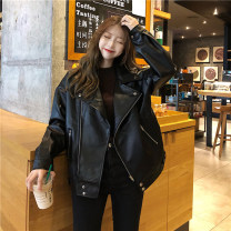leather clothing Other / other Autumn 2020 Average size black routine Long sleeves easy commute zipper routine 18-24 years old 30% and below
