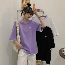 T-shirt Purple, white, black Average size Summer 2021 Short sleeve Crew neck easy Medium length routine commute other 30% and below 18-24 years old Korean version