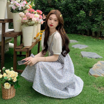 Dress Summer 2021 Two fake orchids and two fake black flowers S, M Mid length dress Fake two pieces Short sleeve Sweet Crew neck High waist Decor Socket A-line skirt puff sleeve 18-24 years old Type A 30% and below other other college