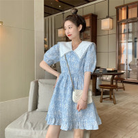 Dress Spring 2021 Light blue series S, M Short skirt singleton  Short sleeve commute Doll Collar High waist Decor Ruffle Skirt puff sleeve Others 18-24 years old Type A Korean version printing 30% and below other