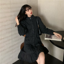 Dress Spring 2021 black S,M,L Short skirt singleton  Long sleeves commute Polo collar High waist Solid color Single breasted Ruffle Skirt routine 18-24 years old Type A Retro Button 30% and below other