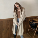 sweater Autumn 2020 Average size khaki Long sleeves Cardigan singleton  Medium length other 30% and below V-neck thickening commute routine Solid color Keep warm and warm 18-24 years old