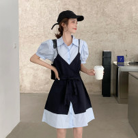 Dress Summer 2021 Blue, white Average size Short skirt Fake two pieces Short sleeve commute Polo collar High waist Single breasted A-line skirt puff sleeve Others 18-24 years old Type A Retro Button, button 30% and below other other