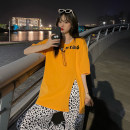 T-shirt Black Wide Leg Pants, orange T-shirt, white wide leg pants, white T-shirt Average size Summer 2021 Short sleeve Crew neck easy Medium length routine commute other 30% and below 18-24 years old Korean version youth printing