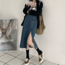 skirt Spring 2021 S,M,L Picture color Mid length dress commute High waist Irregular Solid color Type A 18-24 years old 30% and below other Button, zipper Retro
