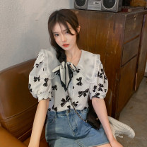 shirt puff sleeve printing college other 30% and below Regular payment Short sleeve Summer 2021 18-24 years old Doll Collar Sweet Single row multi button Broken flower One size fits all Floral shirt, bow shirt, rose shirt