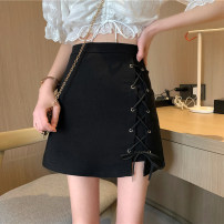 skirt Spring 2021 S,M,L black Short skirt commute High waist A-line skirt Solid color Type A 18-24 years old 30% and below other other Frenulum Korean version