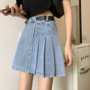 skirt Spring 2021 S,M,L Blue, black Short skirt commute High waist Pleated skirt Solid color Type A 18-24 years old 30% and below other fold Korean version