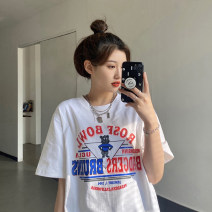 T-shirt Average size Summer 2021 Short sleeve Crew neck easy Regular routine commute other 30% and below 18-24 years old Korean version youth Cartoon, animation, letters printing