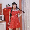 skirt Summer 2020 S, M Red, black Short skirt High waist Mesh, stitching