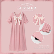 Nightdress Other / other 7118 # pink, 7118 # green, 7118 # yellow, 7118 # light blue M [suggested 80-105 kg], l [suggested 106-125 kg], XL [suggested 126-145 kg], XXL [suggested 146-165 kg], 3XL [suggested 166-190 kg] Sweet Short sleeve pajamas Middle-skirt summer Solid color youth square neck cotton