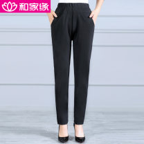 Middle aged and old women's wear Spring 2020 black XL,XXL,XXXL,4XL,5XL leisure time trousers easy Solid color Over 60 years old moderate HJY2001-620 He Jiayuan pocket polyester fiber 91% (inclusive) - 95% (inclusive) trousers