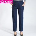 Middle aged and old women's wear Autumn of 2018 Gray, blue L,XL,XXL,XXXL,4XL leisure time trousers easy singleton  Solid color Over 60 years old moderate HJY1807-215 He Jiayuan pocket cotton 51% (inclusive) - 70% (inclusive) trousers
