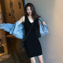Dress Summer 2021 black S,M,L,XL longuette singleton  Sleeveless commute Crew neck High waist Solid color Socket One pace skirt camisole Other / other Korean version Printing, stitching and decoration More than 95% other other