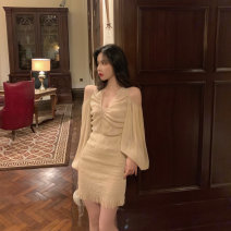 Dress Summer 2021 Light nude S,M,L,XL Short skirt singleton  Long sleeves commute Crew neck High waist Cartoon animation Socket bishop sleeve Others Type A Other / other Korean version Embroidery, printing More than 95% other other