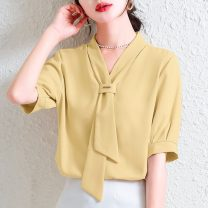 shirt Yellow, pink S,M,L,XL,2XL,3XL Summer 2021 polyester fiber 31% (inclusive) - 50% (inclusive) Short sleeve commute Regular V-neck Socket routine Solid color 18-24 years old Straight cylinder Simplicity Frenulum Chiffon
