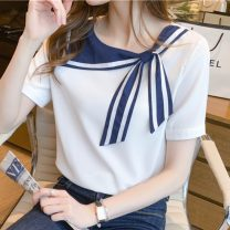Lace / Chiffon Summer 2021 White, blue S,M,L,XL,2XL Short sleeve commute Socket singleton  easy Regular Crew neck Solid color routine 25-29 years old Splicing Simplicity 96% and above nylon