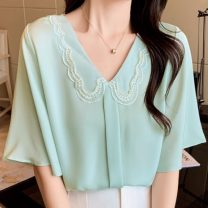 Lace / Chiffon Summer 2021 Light green, white, lotus root S,M,L,XL,2XL Short sleeve commute Cardigan singleton  easy Regular other Solid color puff sleeve 25-29 years old Other / other Lace Ol style 91% (inclusive) - 95% (inclusive) polyester fiber