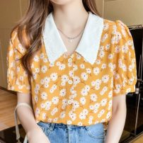 Lace / Chiffon Summer 2021 Ginger  S,M,L,XL,2XL Short sleeve commute Cardigan singleton  Super short V-neck puff sleeve Korean version 96% and above