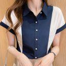 shirt routine nylon 71% (inclusive) - 80% (inclusive) Regular payment Spring 2021 Short sleeve Versatile Half open collar Single row multi button Straight tube Solid color S,M,L,XL,2XL Dark blue, light blue