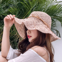 Hat Lafite Light coffee dark blue Khaki pink off white Adjustable Straw hat summer female Sweet and lovely Middle aged youth dome Big eaves 15-19 years old 20-24 years old 25-29 years old 30-34 years old bow Travel Flat eaves