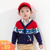 Sweater / sweater 80cm 90cm 100cm 110cm Pure cotton (100% cotton content) neutral gules singbail college Single breasted routine V-neck Ordinary wool Color matching Cotton 100% Long sleeves Spring 2021 spring and autumn 12 months 18 months 2 years 3 years 4 years 5 years old