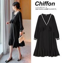 Dress Zilan Black red M L XL XXL Korean version Long sleeves Medium length summer V-neck Solid color Chiffon