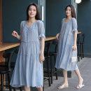 Dress Zilan Water blue M L XL XXL Korean version elbow sleeve Medium length summer V-neck Solid color 8227#-0402