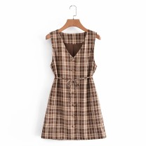 Dress Summer 2021 As shown in the figure XS,S,M,L Short skirt Sleeveless street V-neck High waist 18-24 years old 81% (inclusive) - 90% (inclusive) Europe and America