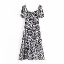 Dress Summer 2021 As shown in the figure S,M,L Mid length dress Short sleeve street square neck High waist puff sleeve 18-24 years old 81% (inclusive) - 90% (inclusive) Europe and America