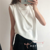 shirt White, Khaki XS,S,M,L Summer 2020 other 31% (inclusive) - 50% (inclusive) Sleeveless Versatile Regular stand collar Solid color TRAF