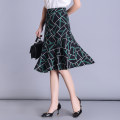 skirt Summer of 2019 M,L,XL,2XL,3XL,4XL Green, red, MIG Mid length dress Versatile High waist Irregular Type A 30-34 years old K1923 Chiffon Zipper, print