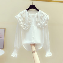 shirt white S,M,L,XL Spring 2020 other 81% (inclusive) - 90% (inclusive) Long sleeves Sweet Regular Doll Collar Single row multi button bishop sleeve Solid color 18-24 years old Straight cylinder