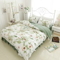 Bedding Set / four piece set / multi piece set cotton Quilting Plants and flowers 133x72 Mmlove / full of love cotton 4 pieces 40 Dance Garden Pink, dance garden blue, summer shadow light blue, summer shadow light green Bed skirt Korean style 100% cotton twill Reactive Print
