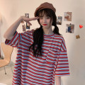 T-shirt Purple Stripe red stripe M L XL Summer 2020 elbow sleeve Crew neck easy Medium length routine commute other 96% and above 18-24 years old Korean version originality Swallow Castle Miss Zuo 255 PU