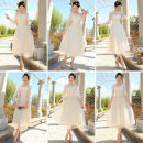 Dress / evening wear Wedding, adulthood, party, company annual meeting, performance, routine, appointment One size, big size Korean version Medium length middle-waisted Summer 2020 other One shoulder zipper Mesh, lace 18-25 years old elbow sleeve flower Solid color Other / other other other
