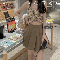 skirt Summer 2021 S, M Short skirt commute High waist Pleated skirt Solid color Type A 18-24 years old Korean version