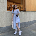Dress Summer 2021 Sky blue, white, black Average size Mid length dress singleton  Short sleeve commute square neck High waist Solid color Socket A-line skirt puff sleeve Others 18-24 years old Type A Korean version