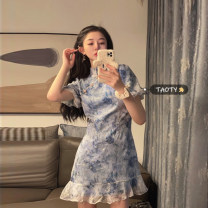 Dress Summer 2021 Rourou powder, golden chaff blue S, M Mid length dress singleton  Short sleeve commute other High waist Decor Socket A-line skirt other Others 18-24 years old Type A Korean version Lace