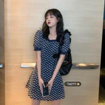 Dress Summer 2021 White, blue Average size Short skirt singleton  Short sleeve commute square neck High waist other Socket A-line skirt puff sleeve 18-24 years old Type A Korean version