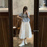 skirt Summer 2021 Average size Blue Plaid piece, Black Plaid piece, skirt piece Mid length dress commute High waist A-line skirt Solid color Type A 18-24 years old Korean version