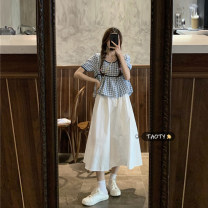 skirt Summer 2021 Average size Blue Plaid piece, Black Plaid piece, skirt piece Mid length dress commute High waist A-line skirt Solid color Type A 18-24 years old Korean version