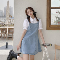 Dress Summer 2021 wathet S,M,L,XL Short skirt Fake two pieces Short sleeve commute Polo collar High waist other Socket A-line skirt puff sleeve Others 18-24 years old Type A Korean version Patching, patching 30% and below other other