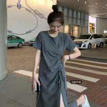 Dress Summer 2021 Gray, black Average size longuette singleton  Short sleeve commute Crew neck High waist Solid color Socket A-line skirt routine Others 18-24 years old Type A Korean version Pleating
