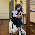 Dress Summer 2021 Black dress, white T-shirt Average size Mid length dress Fake two pieces Short sleeve commute Crew neck High waist other Socket A-line skirt routine camisole 18-24 years old Type A Korean version Lace up, stitching